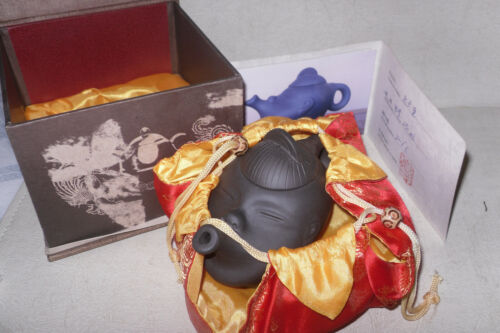 Chinese Yixing Clay Small Head Shaped Teapot Whistling Face Signed W/Certificate