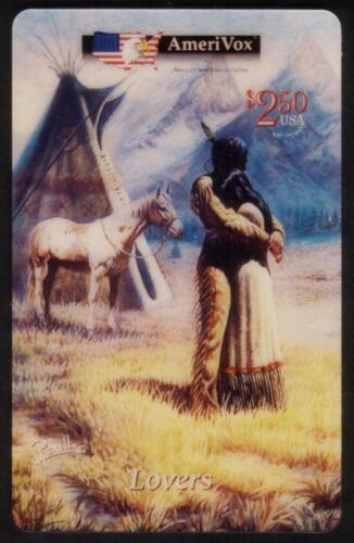 $2.50 Lovers Native Americans Hugging & Horse Artwork by Perillo USED Phone Card