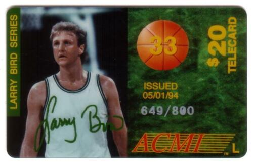 $20. Larry Bird Issue 'L' 1st Series of 9. Issued 05/01/94 # SPECIMEN Phone Card