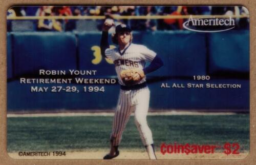 $2. Robin Yount Coin$aver (Pitching Baseball). SPECIMEN Phone Card