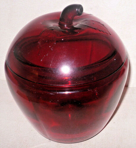 Anchor Hocking Red Colored Glass Large Apple Shaped Jar Canister Container