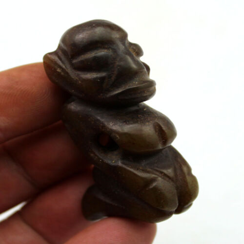 """R473 Ancient Chinese Hongshan Culture Old Jade Sun God Amulet Statue 2.3"""""""