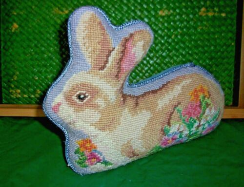 Vintage Needlepoint Petit point Tapestry- Bunny Shaped Pillow Braided Border-