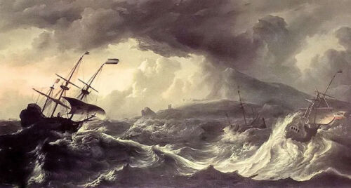 Oil painting ludolf backhuysen - ships running aground in a storm seascape art