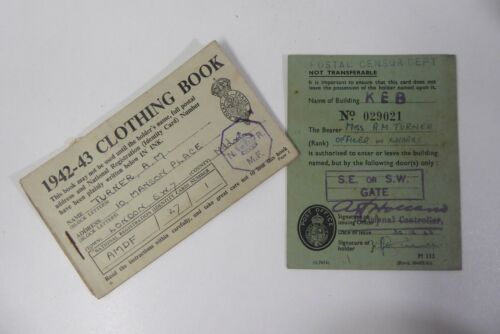 VINTAGE WWII WARTIME CLOTHING RATION BOOKS POSTAL CENSOR OFFICERS PASS CARD
