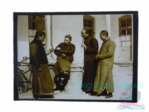 """Matted 8""""x6"""" Old Photograph Foreigners Learned Smoking before China 1890s"""