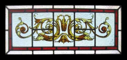 Painted Dragon Ornate Antique English Stained Glass Window