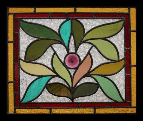 Art Nouveau Leaves Rondel Antique English Stained Glass Window