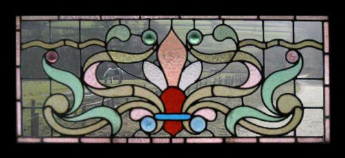 Art Nouveau Rondels English Antique Stained Glass Window