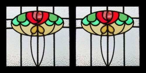 Mackintosh Rose Floral Antique English Stained Glass Windows
