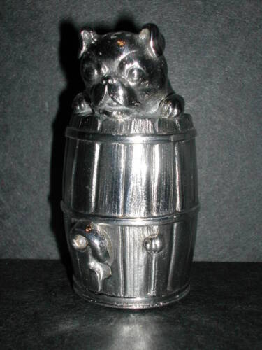 Meriden (#73) Figural Silverplate Pug in Barrel Shaker