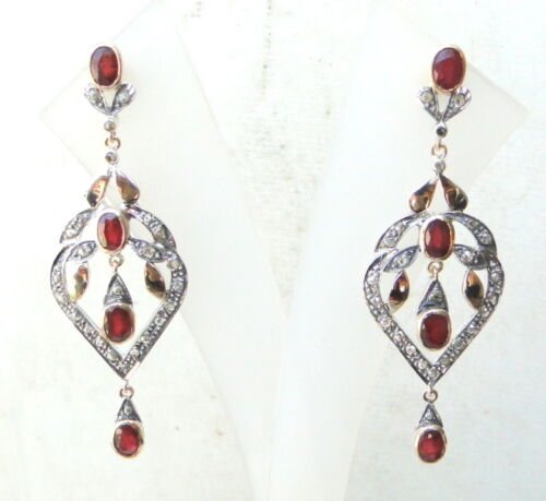 VICTORIAN DIAMOND & RUBY 14 CT GOLD SILVER EARRING STUD