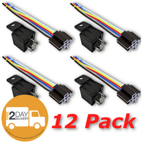 12V 30 40A SPDT Bosch Style Automotive Relays & 5 Wire Socket Harness (12/Pack)