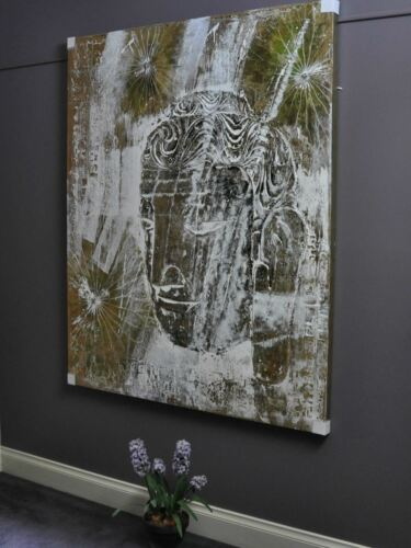 """""""BUDDHA OBSCURED""""-large HAND PAINTED CANVAS WALL ART-relief painting picture"""