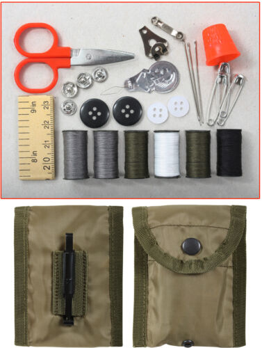 Emergency Sewing Repair Kit with Case & Belt Clip Travel Compact Military