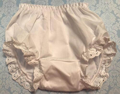 White Eyelet Trimmed Bloomers Diaper Cover Baby & Toddler Sizes up to 4T