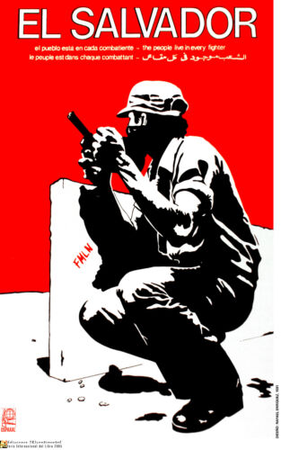 Political Solidarity POSTER.SALVADOR FMLN freedom fighter.72.World protest Art