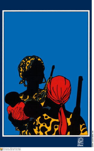 Political POSTER.African MOTHERS with GUN.Anti-Colonalism Africa.History art.a51