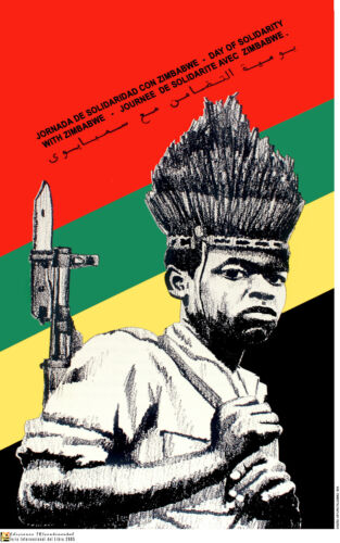 Political OSPAAAL POSTER.ZIMBABWE young Rebel.AFRICA.a55.Socialism History art