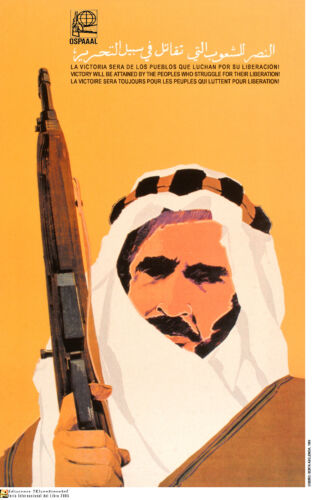 Political OSPAAAL poster.Muslim ARAB War gun fighter.Middle East History.me14