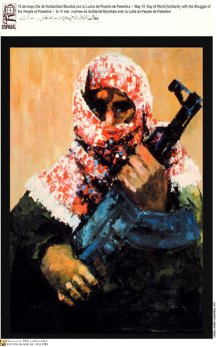 Political OSPAAAL poster.Palestine ARMED fighter.Arab.Muslim World History.me17