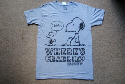 PEANUTS WHERE'S CHARLIE BROWN GREY T SHIRT NEW OFFICIAL SNOOPY WOODSTOCK RARE