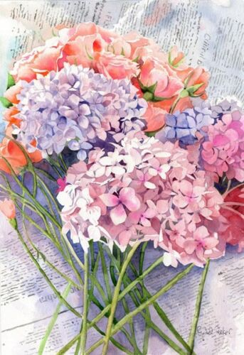 Giclee Print Hydrangea Floral Flower Still life Painting Fine Art Watercolor