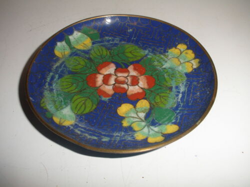 ANTIQUE CHINESE CLOISONNE PLATE FLOWERS