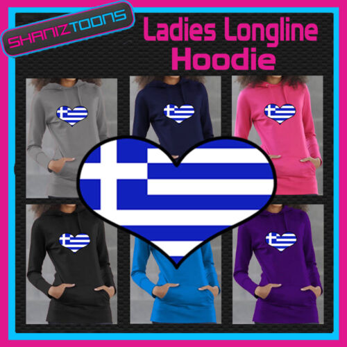 GREECE GREEK FLAG LOVE HEART LADIES LONGLINE HOODIE HOODY