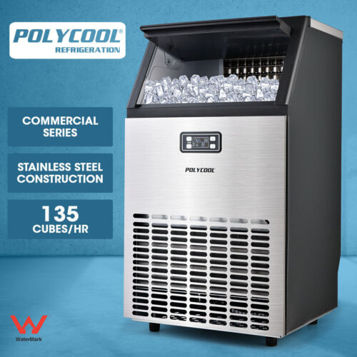 POLYCOOL Commercial Ice Cube Maker Machine Stainless Steel 45-65kg/Day <br/> Stainless steel casing. 12kg storage. Non-slip legs.