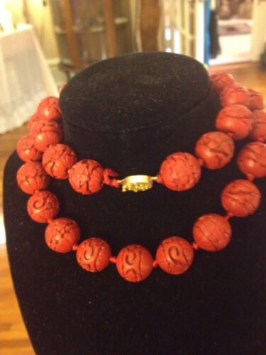 Antique Asian Carved Cinnabar Necklace & Vermeil, Hand-Knotted & Fabulous!