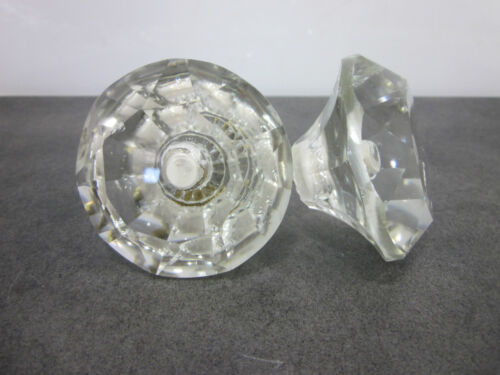 "2 Large Cut Glass Drawer Pulls 2 3/8""x1 3/8"""