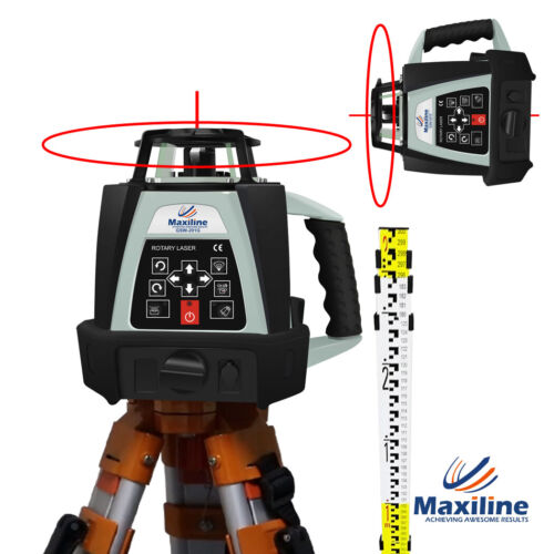 Self Leveling Rotating Rotary Laser Level w Tripod Staff Red Beam GSW201 Video <br/> ✔️Australia Warranty✔️Tax Invoice✔️Express Available