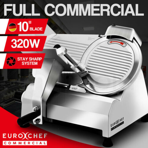 """EuroChef Commercial 10"""" Meat Slicer Food Cutting Machine Electric Deli Shaver <br/> Full Commercial 320W Copper Core Motor & German Blade"""