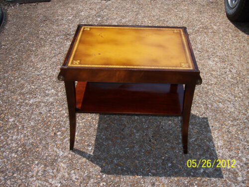 * ANTIQUE STICKLEY OF GRAND RAPIDS END TABLE mahagony W/ LEATHER TOP EMPIRE STYL