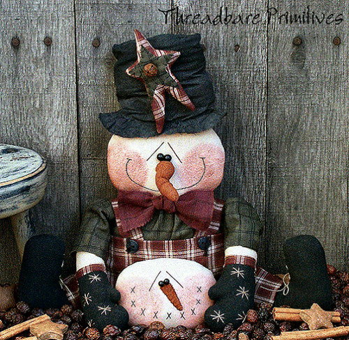 PATTERN Primitive Christmas Snowman Doll w/ Hat & Carrot Nose & Snowball Ornie