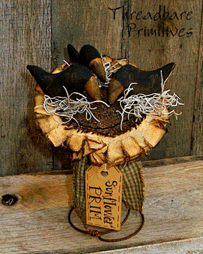 PATTERN Primitive Black Crows on a Sunflower MakeDo Doll FREE SHIPPING