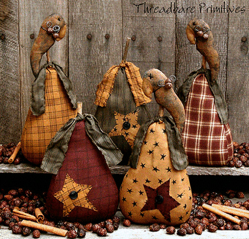 PATTERN Primitive Pears Stars and Crows Ornies Doll CRAFT PATTERN FREE SHIPPING!