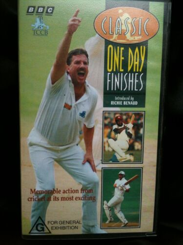 CLASSIC CRICKET ~ ONE DAY FINISHES with RITCHIE BENAUD ~ VHS VIDEO