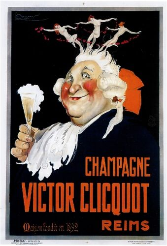 1900s French Champagne Victor Clicquo Food & Wine Advertisement Art Poster Print