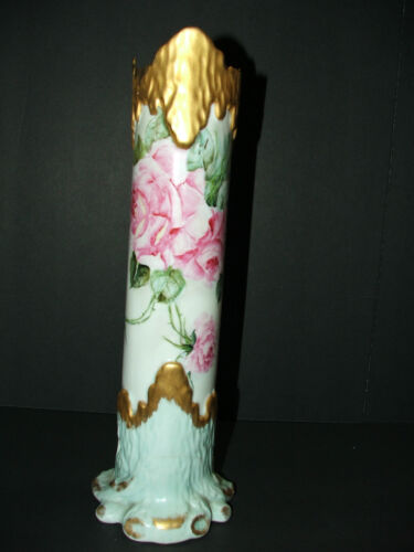 "Antique/Vintage Leonard Vienna Austria large rose floral vase 14"" tall"