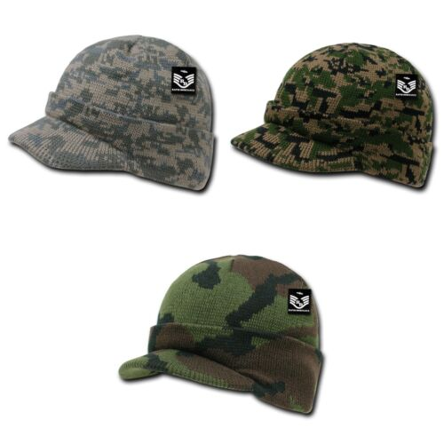 RapDom Military Camouflage Camo GI Jeep Beanies with Visor Knit Watch Caps Hats