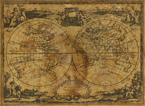 world map atlas globe earth compass art print photo rustic old vintage poster
