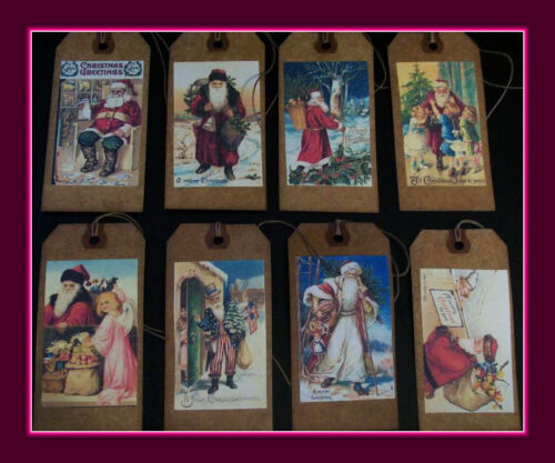 OLD FASHIONED SANTA HANG TAGS - PRIMITIVE OLD WORLD SANTA'S
