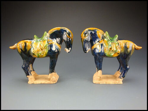 A PAIR ANCIENT CHINESE TANG DYNASTY SANCAI BLUE GLAZED POTTERY HORSE