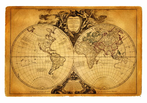 world map atlas globe earth compass art print photo rustic old