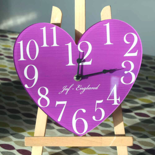 Vintage Heart Clock, Heart Shaped Wall Clock, Wooden effect, Load of Colours