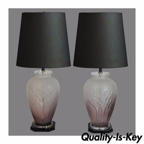 Pair Vintage Mid Century Modern Frosted Purple Glass & Lucite Table Lamps