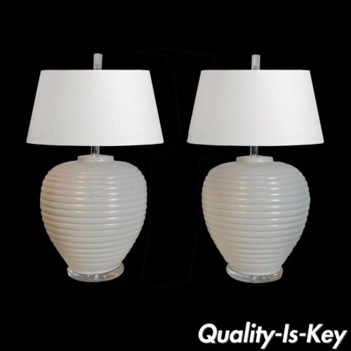 Pair Vintage Mid Century Modern White Glazed Ceramic Lucite Beehive Table Lamps