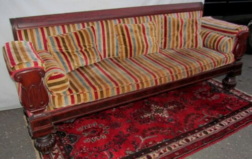 FEDERAL PERIOD MAHOGANY TULIP CARVED SOFA - CLASSICAL GRECIAN REVIVAL STYLE